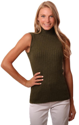525 AMERICA TOPS MOCK NECK SLEEVELESS RIBBED OLIVE GREEN KNIT TANK TOP