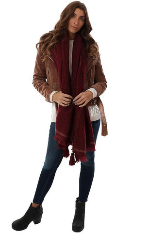 SCARVES TASSEL TRIM SOFT COZY BURGUNDY WINTER BLANKET SCARF