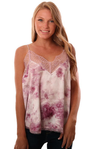 STORIA TOPS LACE TRIM TIE DYE SILKY PINK PURPLE CAMI TOP