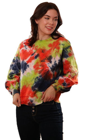 CENTRAL PARK WEST TOPS LONG SLEEVE CREW NECK TIE DYE PULLOVER SWEATSHIRT