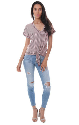 veronica m tops v neck tie front striped t shirt