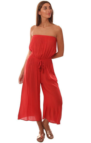 JUMPSUITS STRAPLESS CROPPED WIDE LEG LIGHTWEIGHT FLOWY CORAL JUMPER