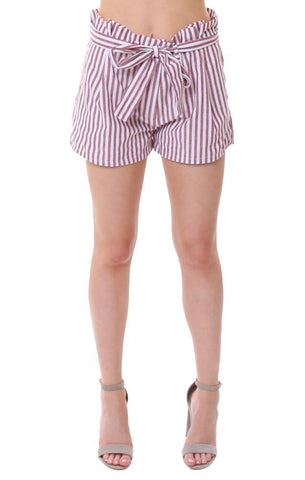 2 SABLE SHORTS HIGH WAISTED PAPER BAG RED / WHITE STRIPED SHORTS
