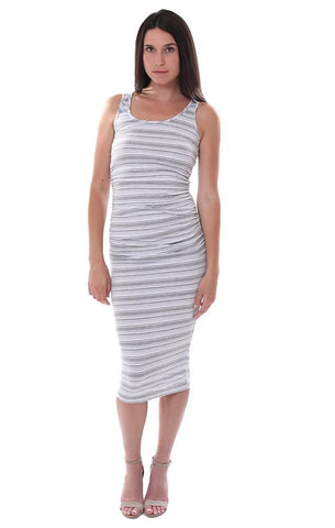 MICHAEL STARS DRESSES RACERBACK GREY / WHITE STRIPED TANK MIDI DRESS