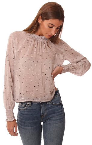 BELLA DAHL TOPS SMOCKED CUFF LONG SLEEVES FLOWY FLORAL PRINTED GREY BLOUSE