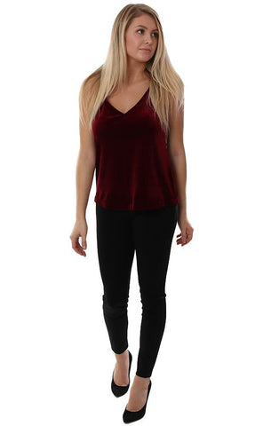 Veronica M Tops Velvet Burgundy V neck Racerback Holiday Chic Top Tank