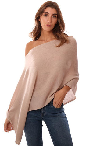 CASHMERE TOPPERS SOFT LAYERING KNIT KHAKI PONCHO TOPPER