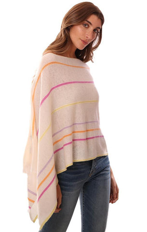 IN CASHMERE TOPPERS STRIPED SOFT LAYERING RAINBOW KNIT PONCHO