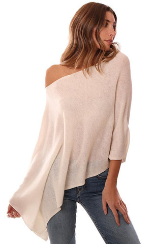 IN CASHMERE TOPPERS SOFT WHITE LAYERING KNIT PONCHO TOPPER