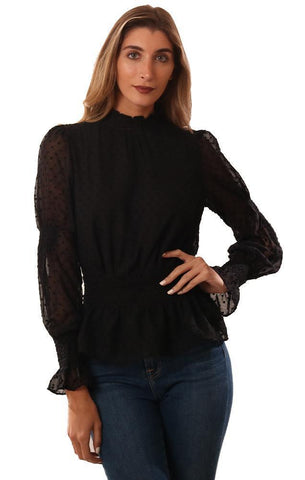DO AND BE TOPS LONG SLEEVE SWISS DOT LACE SMOCKED WAIST DRESSY BLACK BLOUSE