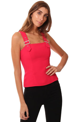 AMANDA UPRICHARD TOPS SLEEVELESS STRUCTURED BUCKLE STRAP PINK TANK BLOUSE