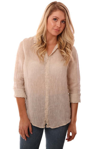 CP SHADES TOPS BUTTON DOWN LONG SLEEVE LINEN BEIGE LIGHTWEIGHT TOP