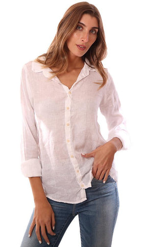 CP SHADES TOPS BUTTON DOWN LONG SLEEVE LINEN WHITE SHIRT