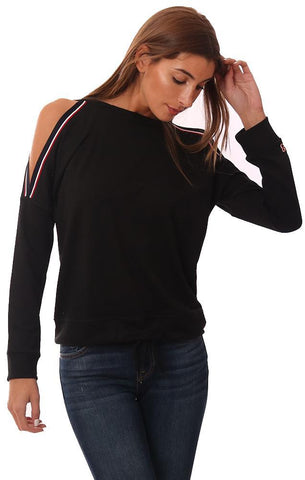 SIX FIFTY TOPS COLD SHOULDER SOFT ATHLETIC BLACK PULLOVER SWEATSHIRT
