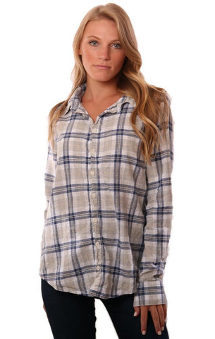 CP SHADES TOPS CLASSIC BUTTON UP COLLARED PLAID LONG SLEEVE BLOUSE