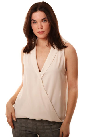 VERONICA M TOPS SLEEVELESS V NECK COLLARED CROSS FRONT IVORY TOP