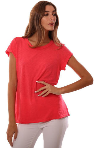 MICHAEL STARS TOPS CREW NECK SHORT SLEEVE BASIC CORAL T-SHIRT