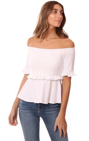 SUSANA MONACO TOPS OFF THE SHOULDER RUFFLE TRIM FLARE WHITE TOP