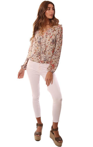 cupcakes and cashmere tops floral printed lace front top