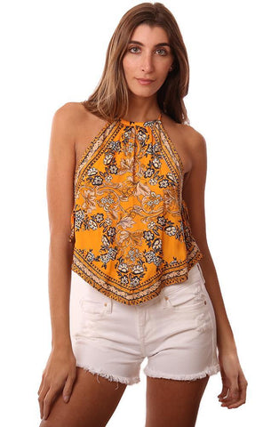 FREE PEOPLE TOPS PRINTED BOHO HALTER GOLD TANK TOP