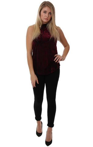 Veronica M Tops Halter High Neck Velvet Red Burgundy Sleeveless Holiday Blouse