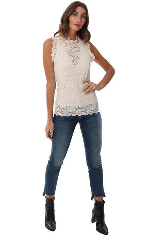 Red Haute Tops High Neck Lace Ruffle Sleeveless Fitted Chic Ivory Holiday Tank Blouse