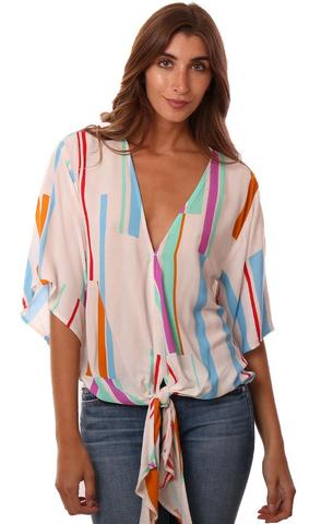 TOPS KIMONO SLEEVE TIE FRONT V NECK COLORFUL STRIPED FLOWY TOP