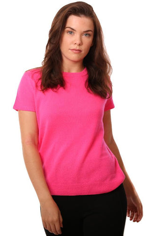 525 AMERICA TOPS CREW NECK SHORT SLEEVE COZY CASHMERE HOT PINK SWEATER TOP