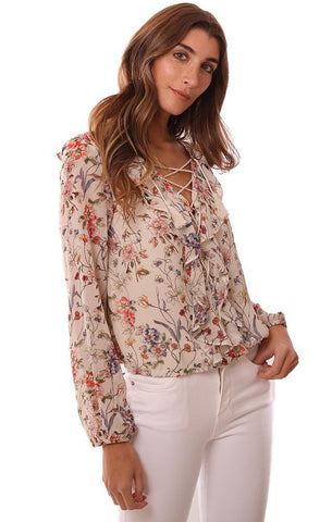 CUPCAKES AND CASHMERE TOPS FLORAL LACE UP V NECK RUFFLE FRONT IVORY BLOUSE