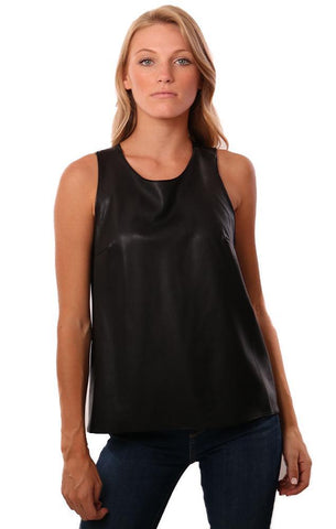 AMANDA UPRICHARD TOPS SLEEVELESS VEGAN LEATHER CROSS BACK BLACK TANK TOP