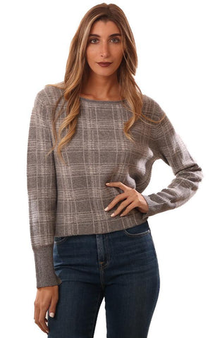 RAFFI SWEATERS CREW NECK LONG SLEEVE GREY PLAID CASHMERE PULLOVER
