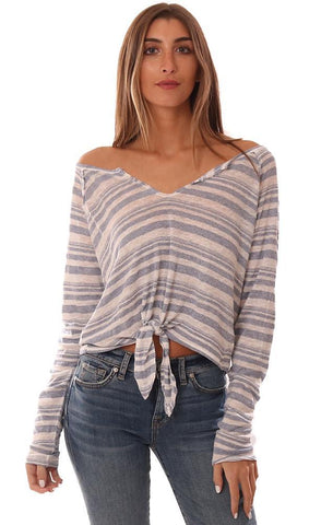 BELLA DAHL TOPS LONG SLEEVE TIE FRONT STRIPED LIGHTWEIGHT BLOUSE