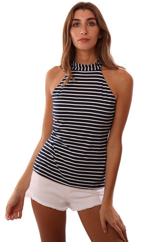 VERONICA M TOPS TIED HALTER NECK SLEEVELESS OPEN BACK STRIPED TOP
