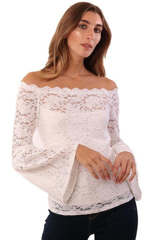 RED HAUTE TOPS OFF THE SHOULDER LONG BELL SLEEVE LACE IVORY TOP