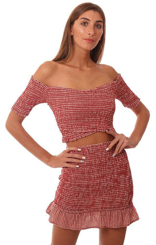 STORIA TOPS SMOCKED TUBE SLEEVE OFF THE SHOULDER RED CHECKED CROP TOP