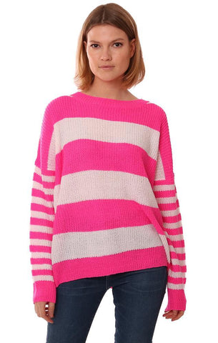 TOPS CREW NECK LONG SLEEVE STRIPED KNIT PULLOVER PINK WHITE SWEATER