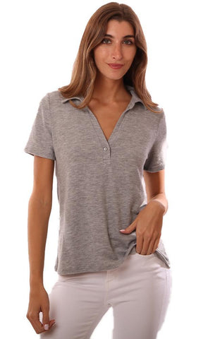 MICHAEL STARS TOPS POLO STYLE COLLARED V NECK HEATHER GREY T-SHIRT