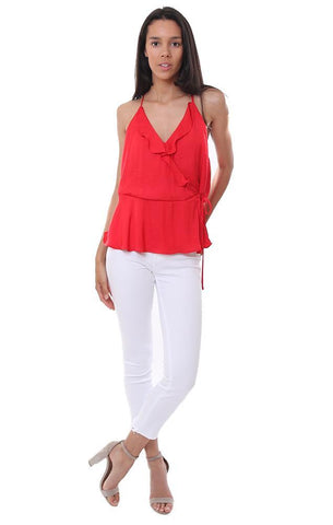 style standard tops ruffle wrap sleeveless red blouse