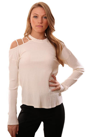 RED HAUTE TOPS RIBBED LONG SLEEVE CUTOUT STRAPPY SHOULDER IVORY TOP
