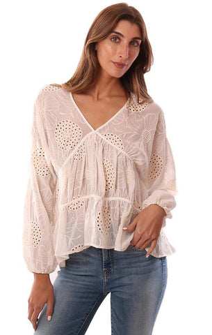 CENTRAL PARK WEST TOPS POET SLEEVE FLORAL EMBROIDERED V NECK FLOWY SHEER IVORY BLOUSE