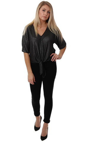 Veronica M Tops Tie Front V Neck Short Sleeve Black Sparkle Top