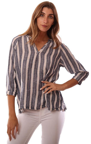 CP SHADES TOPS LONG SLEEVE V NECK NAVY STRIPED FLOWY LINEN BLOUSE