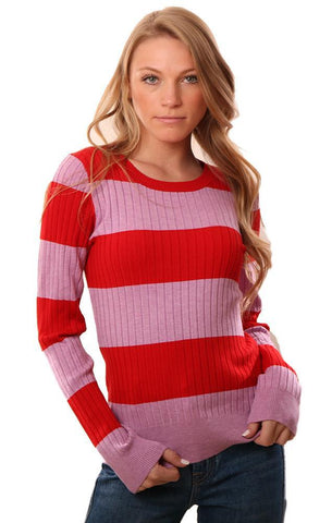525 AMERICA SWEATERS LONG SLEEVE RIBBED RED PINK RUGBY STRIPED CREW NECK
