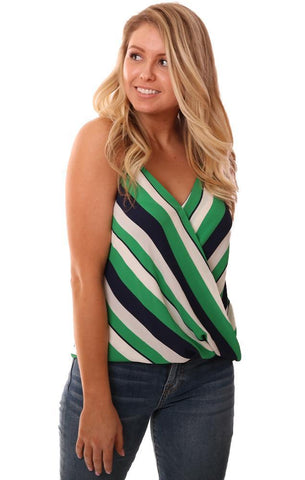 VERONICA M TOPS STRIPED V NECK WRAP FRONT TANK BLOUSE
