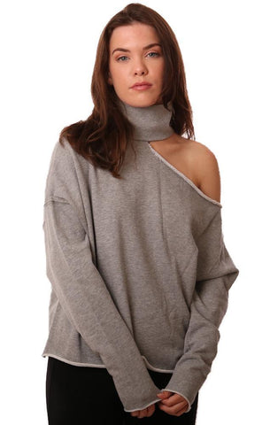 SIX FIFTY TOPS CUTOUT MOCK NECK LONG SLEEVE GREY PULLOVER SWEATSHIRT