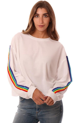 SIX FIFTY TOPS RAINBOW STRIPE LONG SLEEVE WHITE PULLOVER SWEATSHIRT