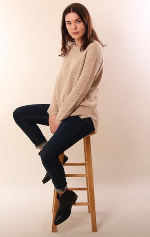 525 SWEATERS LONG SLEEVE COMFY KHAKI KNIT COTTON PULLOVER
