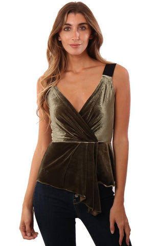 BAILEY 44 TOPS V NECK PLEATED FRONT VELVET ARMY GREEN TANK TOP