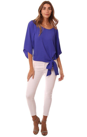 Amanda Uprichard Tops Silky Tie Front Wide Short Sleeve Blue Blouse