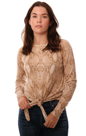 SWEATERS LONG SLEEVE TIE FRONT SNAKESKIN PRINTED TAN LIGHTWEIGHT KNIT TOP